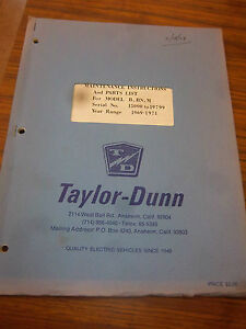 Taylor dunn Model B bn m Vehicle Parts maintenance operation Manual 1969 1971