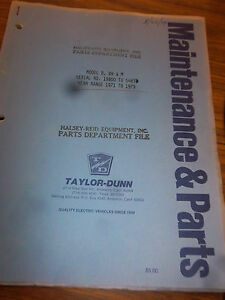 Taylor dunn Vehicle Parts maintenance operation Manual model B bn m 1971 1979
