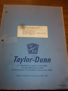 Taylor dunn Vehicle Parts maintenance operation Manual 1254b model 1254b Truck