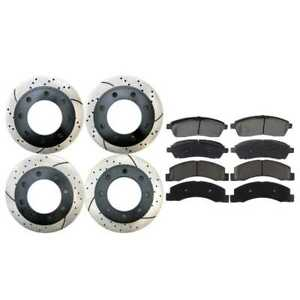 Front And Rear Kit Of 4 Drilled Slotted Brake Rotors And 8 Ceramic Brake Pads