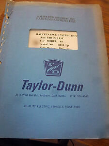 Taylor dunn Parts maintenance operation Manual 2531ss 2533ss 1967 td Model Ss