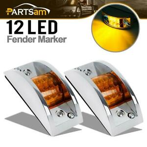 2 Chrome Armored Clearance Running Lights 12 Led For Truck Trailer Rails Amber