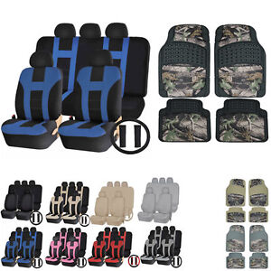 Uaa Jungle Camo Truck Rubber Mats Dual Stitch Racing Polyester Seat Covers Set