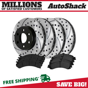 Front Rear Drilled Slotted Rotors Metallic Pads For 2003 2006 Silverado 1500