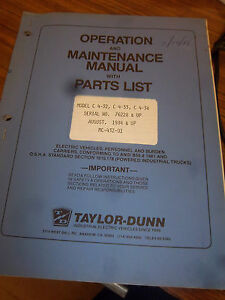 Taylor dunn Part maintenance operation Manual c 432 c 433 c 438 1984 1432c 1433c