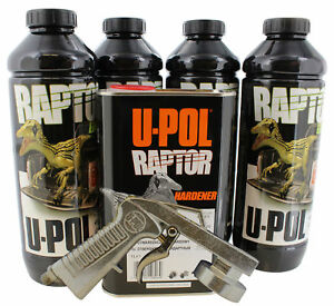 U pol Upol 820v Raptor Black Urethane Spray on Truck Bed Liner Kit With 726 Gun