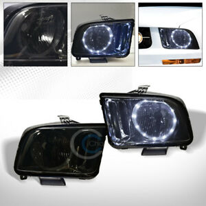 Smoke Clear Drl Led Halo Ring Head Lights Lamps Pair Nb 2005 2009 Ford Mustang
