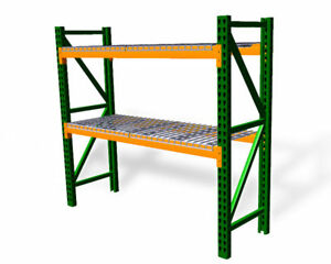 New Teardrop Pallet Rack Starter Kit With Wire Deck 48 d X 96 w X 96 h