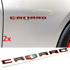 2x Oem Camaro Letter Emblem 3d Badge Gm Chevy Oem Black Red Line Series Wu