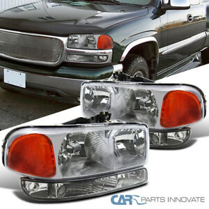For 99 06 Gmc Sierra Yukon Denali Xl Chrome Clear Headligths clear Bumper Lamps