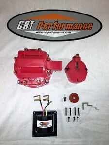 Red 8cyl Hei Distributor Cap Coil Cover Rotor Kit 65 000 Volt Coil Gm Chevy