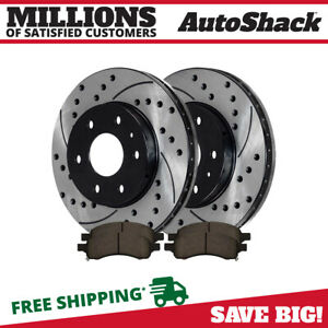 Front Drilled Slotted Rotors Ceramic Pads For 2009 2011 2012 Chevrolet Traverse