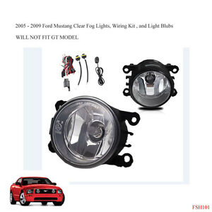 New 2005 2009 Ford Mustang Clear Fog Lights Lamps Wiring Kit Light Bulbs