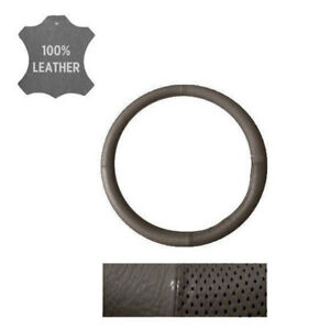 New Perforated Genuine Gray Leather Car Truck Steering Wheel Cover Medium Size