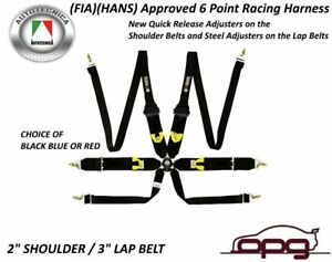 Monza Racing Harness 6 Point 2in 3in Straps Rotary Buckle Fia Cams Approval