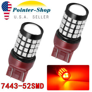 2x Red 7443 7440 52 Smd Brake Tail Light Parking Led Light Bulbs 12v 24v