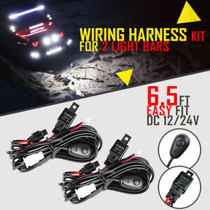 2x Wiring Harness Kit Switch Relay For Drl Offroad Hid Led Light Bar 12 24v 40a