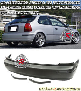 Sir Style Rear Bumper Cover With Molding Fits 96 00 Honda Civic 3dr Hatchback