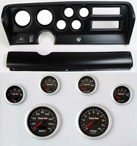 70 72 Gto Black Dash Carrier Concourse Black Face Gauges