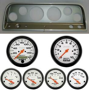 65 66 Chevy Truck Silver Dash Carrier W Auto Meter Phantom Electric Gauges