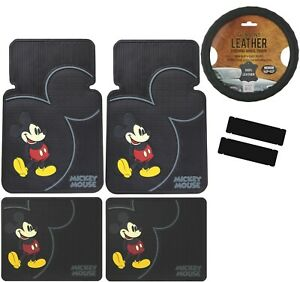 7pcs Disney Mickey Mouse Car Truck Front Rear Floor Mats Steering Wheel Cover