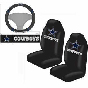 New 3pc Set Nfl Dallas Cowboys Seat Covers Steering Wheel Cover
