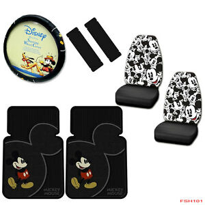 7pcs Mickey Mouse Car Truck Front Seat Covers Floor Mats Steering Wheel Cover