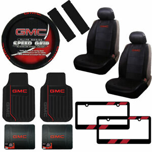 New Gmc Car Truck Front Back Rubber Floor Mats Seat Covers Steering Wheel Cover