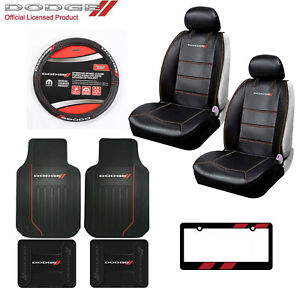 Dodge Elite Car Truck Front Seat Covers Floor Mats Steering Wheel Cover