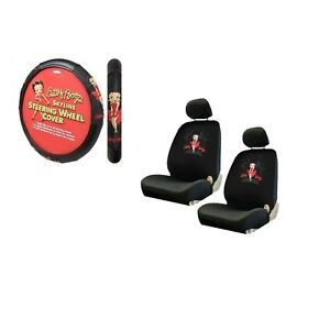 New 5pc Betty Boop Red Dress Skyline Seat Covers Steering Wheel Cover Set