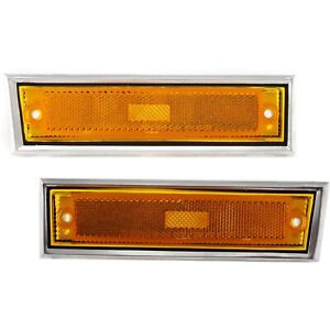 New Pair Front Signal Side Marker Light W Chrome 81 91 Gmc Chevy Pickup Truck
