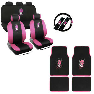 New Full Set Pink Hawaiian Flowers Car Front Rear Seat Covers Floor Mats