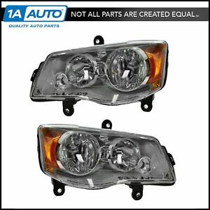 Headlights Headlamps Pair Set For Dodge Caravan Chrysler Town Country