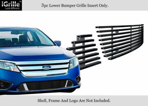 Fits 10 12 2011 2012 Ford Fusion Sport Bumper Black Stainless Billet Grille