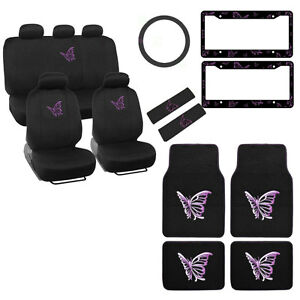 New Full Set Purple Butterfly Car Front Rear Seat Covers Floor Mats Interior Set