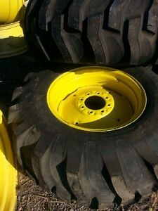 Two New 17 5lx24 R4 Massey Ferguson B Loader Farm Tractor Tires W wheels
