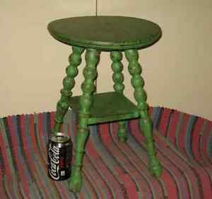 Antique Solid Victorian Oak Footstool Bench Turned Legs Primitive Painted Green