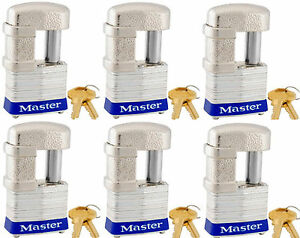Lock Set By Master 37ka lot Of 6 Keyed Alike Shrouded Laminated Padlocks New
