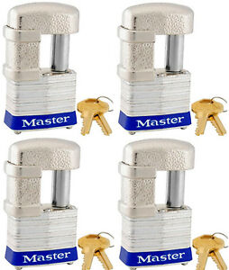 Lock Set By Master 37ka lot Of 4 Keyed Alike Shrouded Laminated Padlocks New