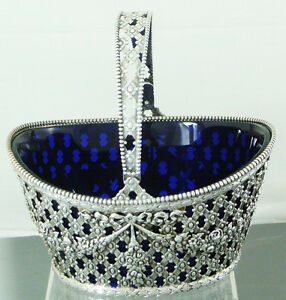 Basket By Durgin Co Sterling Silver With Cobalt Blue Liner And Swing Handle