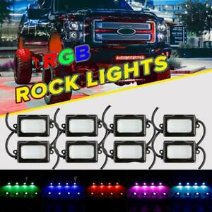 8pcs Cree Rgb Led Multi Color Rock Light Wireless Bluetooth Driving Truck Boat