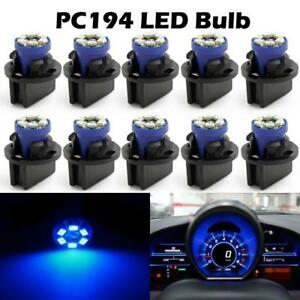 10pcs Pc168 T10 Twist Lock Blue 194 Led Cluster Gauge Dash Instrument Light Bulb