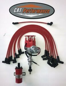 Ford 351w Windsor Red Small Cap Hei Distributor 60k Coil Plug Wires Usa