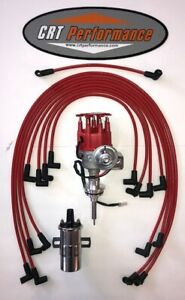 Mopar 413 426 440 Red Small Cap Hei Distributor 45k Chrome Coil Plug Wires