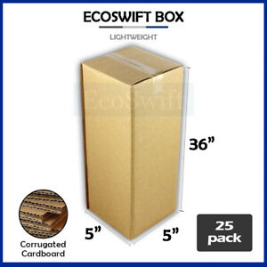 25 5x5x36 Cardboard Packing Mailing Tall Long Shipping Corrugated Box Cartons