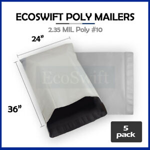 5 24 X 36 Large White Poly Mailers Shipping Envelopes Self Sealing Bags 2 35 Mil