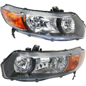 Headlight Set For 2006 2007 Honda Civic Dx Lx Ex Models Coupe Left And Right 2pc