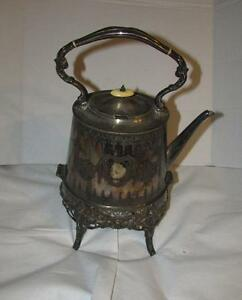 Antique Lee Wigfull Sheffield Georgian Silver Large Teapot On Stand Warmer