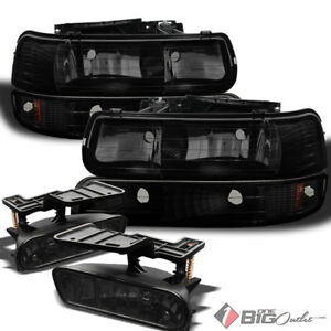 For 99 02 Silverado 00 06 Tahoe Black Smoked Headlights Set Smoked Fog Lights