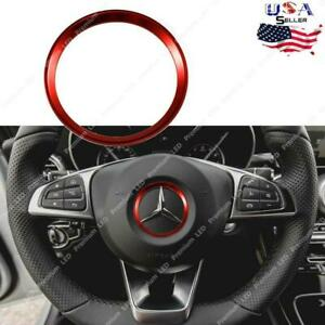 Red Steering Wheel Center Logo Cover Trim For 2015 Mercedes Benz C E Cla Gla Gl